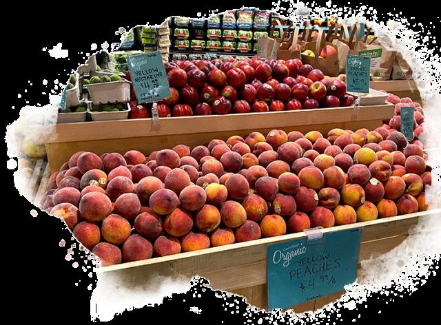 peach and nectarine display